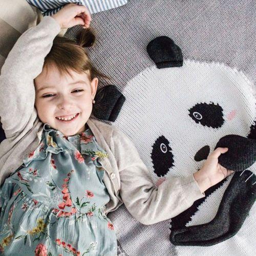 Плед APERO панда серый 75х120 см
