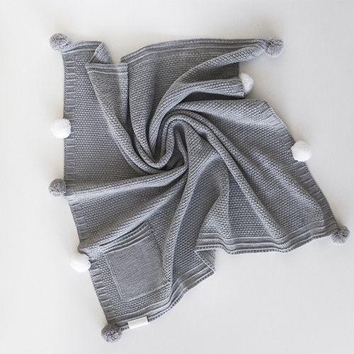 Плед POMPON серый 90х90 см