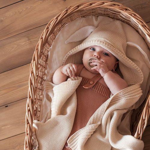 Детский плед капюшон с ушками APERO пшеничный 70х120 см