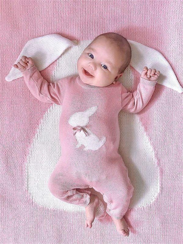 APERO детский плед зайка розовый 60х120 см