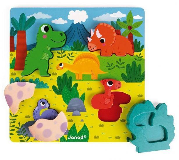 Пазл-вкладыш  с сюрпризом Найди динозавра 6 элементов