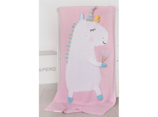APERO детский плед единорог розовый 60х120 см